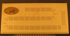 Custom Maple Cribbage Board with Grizzly