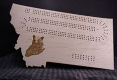 Montana shape w/lasered grizzly Cribbage Board