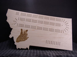 Custom Montana shaped cribbage board